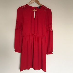 EXPRESS Long sleeve, fit and flare, red dress sz S